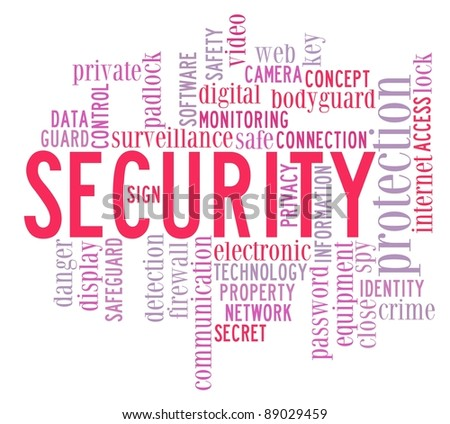 security info-text graphics and arrangement concept on white background (word cloud)