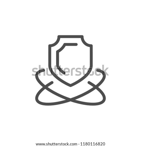 Security line icon isolated on white