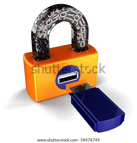 Security lock computer data digital flash usb card padlock secret password encryption. Binary information privacy protect hacker shield safety concept. 3d render isolated on white background