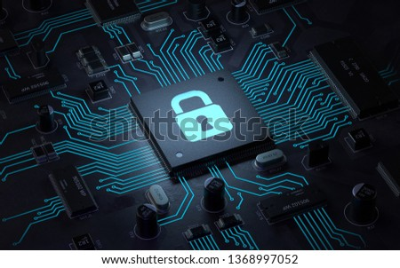 security lock symbol on circuit board.3d rendering,conceptual image.