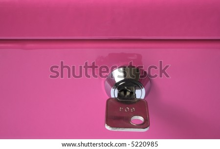 Security lock with key on pink strongbox