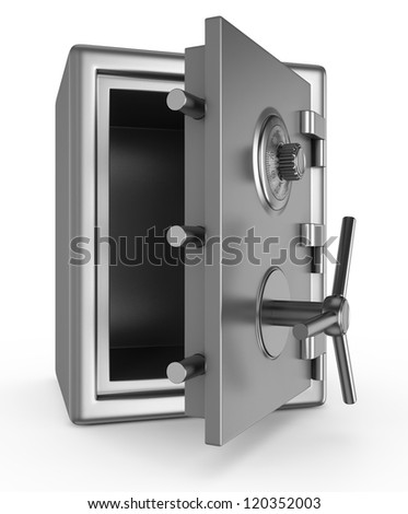 Security metal safe isolated on white background