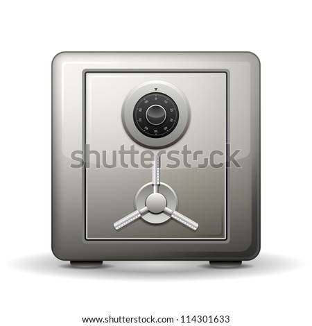 Security metal safe isolated on white. illustration