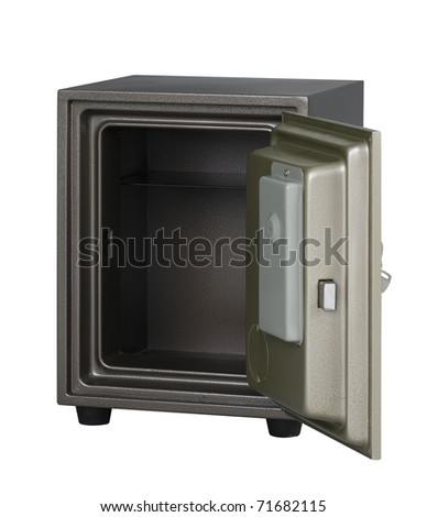 Security metal safe with empty space inside to put your idea or touching photo into it