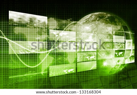 Security Network and Monitoring Data on the Web - stock photo