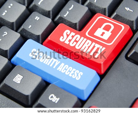 Security on red keyboard button and security access on blue keyboard button. Concept on computer keyboard.