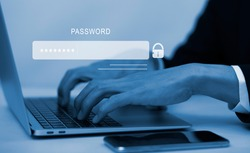 Security password login online concept  Hands typing and entering username and password of social media, log in with smartphone to an online bank account, data protection from hacker