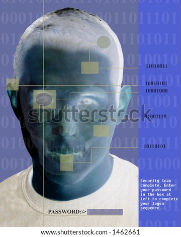 Security Scan of a Face - stock photo