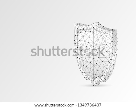 Security shield abstract origami style 3d illustration. Polygonal Raster business concept of safety, data protection. Low poly wireframe, geometry triangle, lines, dots, polygons on white background