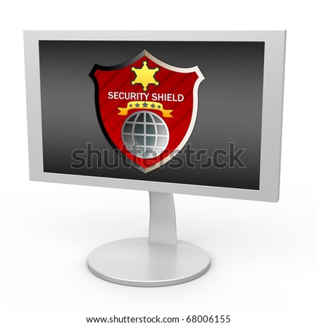 Security shield on monitor screen.