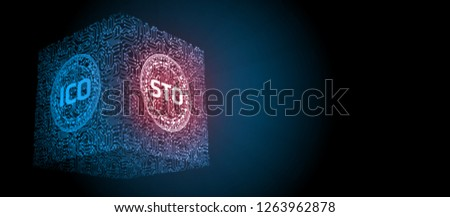 Security Token Offering (STO) is replacing Initial Coin Offering (ICO) as a new proposing technology for crypto currency. Glowing led text over computer circuit board.
