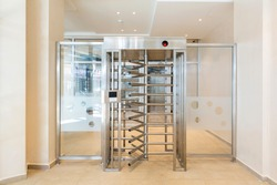 Security turnstiles revolving door with bars and  electronic access control