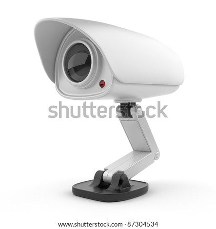 Security white camera surveillance 3D.  Safety concept. Isolated on white