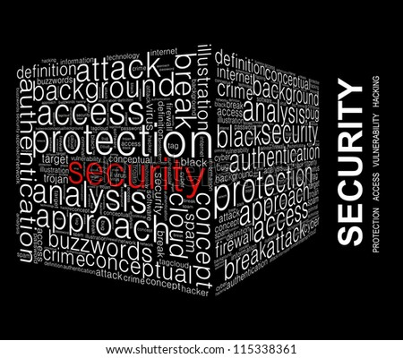 Security Word collage on black background