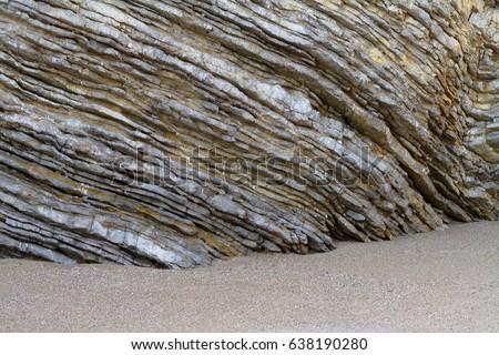 Sedimentary rocks. Natural corrugated stone schistous, background stock photo