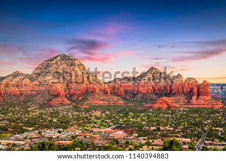 Sedona, Arizona, USA downtown and mountains.