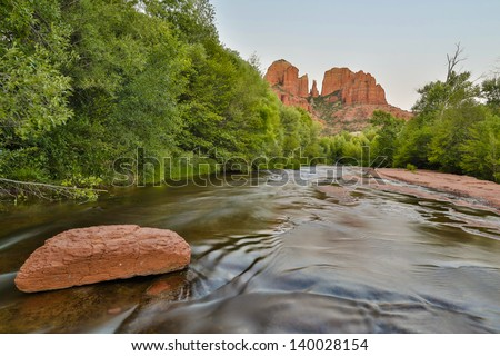 Sedona with a rock in the river