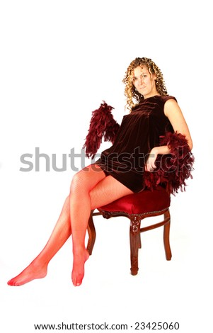 Seducing Young Girl In Red Stockings Isolated On White Background