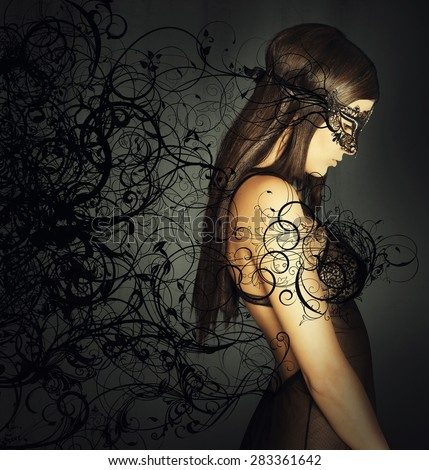 Seductive woman hiding her face with a mask