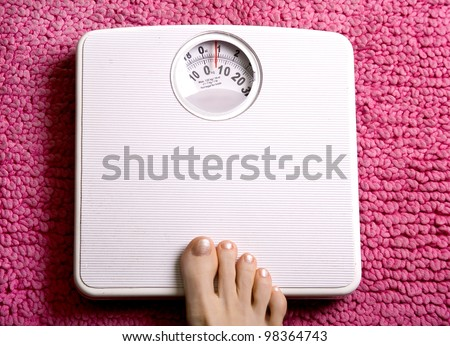 See my other feet on surfaces images. Foot placed onto bathroom scales