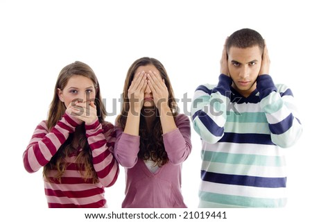 see no evil listen no evil speak no evil against white background - stock photo