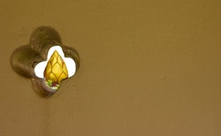 see the golden lotus through the temple wall