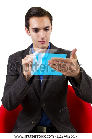 See through modern electronic tablet held by young Caucasian male.
