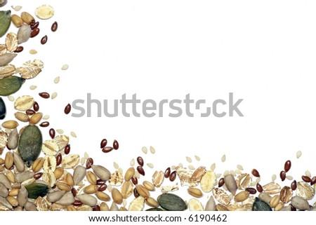 Seeds and cereals background vignette