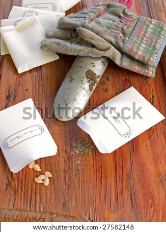 Seeds in baggies with garden trowel and gloves