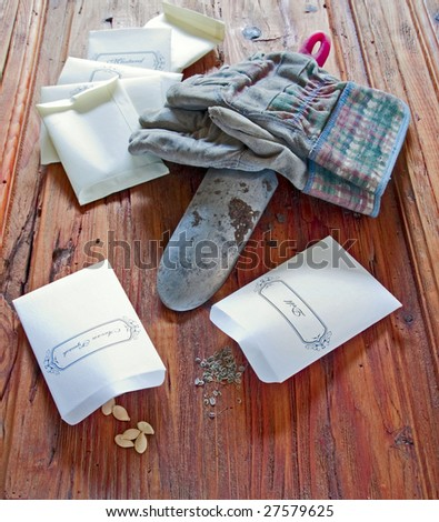 Seeds in packets with garden trowel and gloves