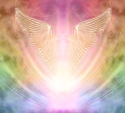 Seeking angelic help from your personal Guardian  - pair of gleaming shimmering golden angel wings against an ethereal rainbow coloured energy background