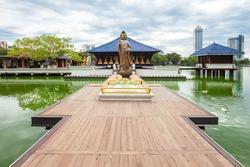 Seema Malaka buddhist temple in the Beira Lake in Colombo, Sri Lanka. Seema Malaka is a part of the Gangaramaya Temple.
