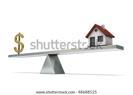 seesaw with a house and dollar sign, isolated on white background