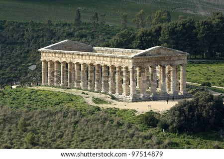 Segesta greek temple in Sicily, Italy. UNESCO world heritage site