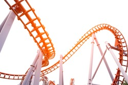 segment of a roller coaster ,on white background