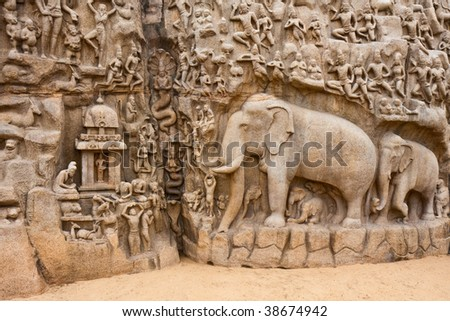 Segment of the Arjuna's Penance (or Descent of the Ganges) Bas-relief in Mahabalipuram, India.