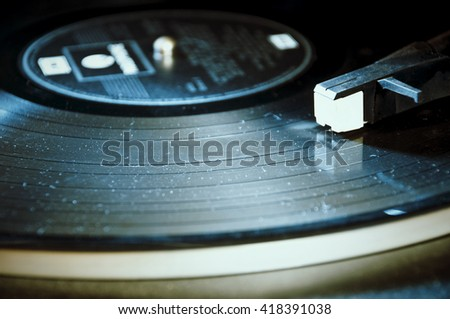Segment of vinyl record with label showing the texture of the grooves, retro look , with copyspace