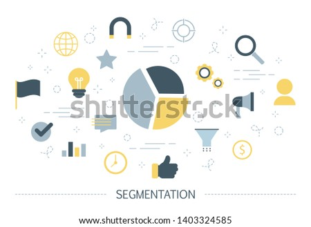 Segmentation concept. Dividing people into different segments for business growth. Advertising product for each segment in different ways. Management and marketing. Isolated flat  illustration