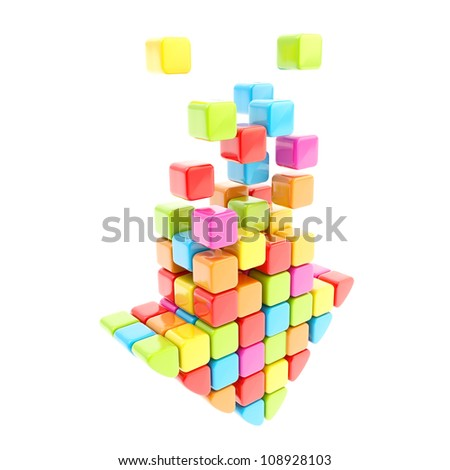 Segmented rainbow colored cube glossy colorful arrow isolated on white