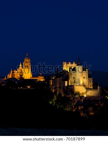 Segovia at night, Castile and Leon, Spain