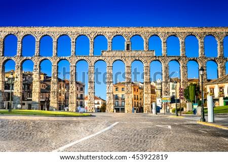 Segovia, Spain. Town view at Plaza del Artilleria and the ancient Roman aqueduct, Castilla y Leon stock photo
