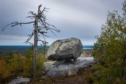 seid, megalith on mystical mountain Vottovaara in Karelia during the golden autumn. Russian northern landscape