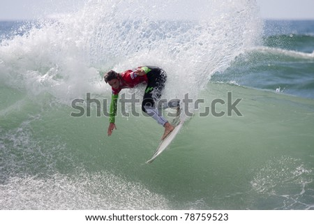 SEIGNOSSE, FRANCE - JUNE 2: American surfer Courtney Conlogue at the Swatch Pro France on June 2, 2011, in Seignosse , France.