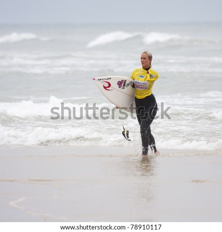 SEIGNOSSE, FRANCE - JUNE 2:  Surfer Bethany Hamilton at the end of her contest  at the Swatch Pro France on June 2, 2011, in Seignosse, France.