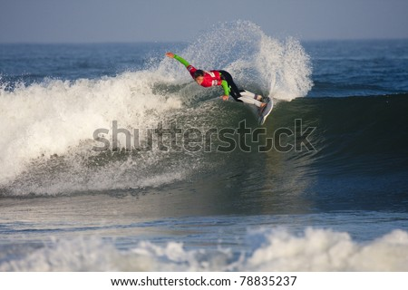 SEIGNOSSE, FRANCE - JUNE 3: Woman surfer Courtney Conlogue at the Swatch Pro France on June 3, 2011 in Seignosse, France.