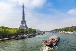 Seine in Paris and Eiffel tower in beautiful summer day