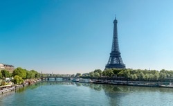 Seine in Paris and Eiffel tower in beautiful summer day in Paris