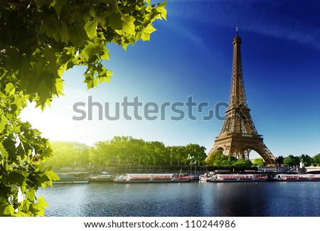 Shutterstock Seine in Paris with Eiffel tower in sunrise time