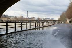 Seine river flood in Paris in February