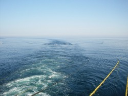 Seismic cables from industrial oil and gas researcher ship vessel in blue ocean surface, seismic seabed survey concept
